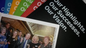 Photo of Volunteer Glasgow 2015 Annual Report covers and inside page