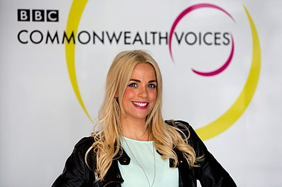picture of presenter Cat Cubie and link to BBC Commonwealth Voices