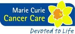 logo and slogan for Marie Curie Cancer Care - devoted to life