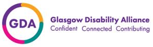 logo for Glasgow Disability Alliance - confident - connnected - contributing